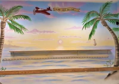 ציור קיר שקיעה בהוואי