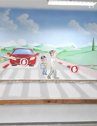 ציורי קיר לבתי ספר - ציור קיר של בטיחות בדרכים