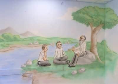 ציורי קיר לבתי ספר של ילדים לומדים