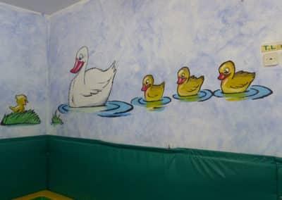 ציורי קיר לגנים - ברווזים מתוקים