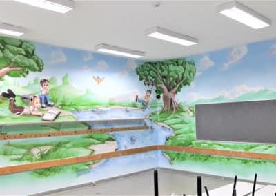 ציורי קיר לגנים ציור קיר ענק רקע מקסים וילדים משחקים