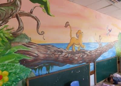 ציורי קיר לגני ילדים - ציור קיר של מלך האריות בשקיעה
