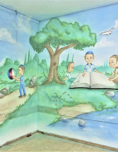 ציורי קיר לגני ילדים של ילדים משחקים בגן קסום