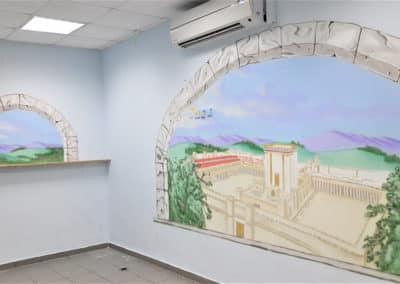 ציורי קיר לתלמודי תורה - ציור של בית המקדש משתקף מהחלון