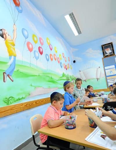 ציור קיר בגן ילדים - ציור קיר של בלונים