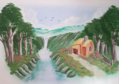 ציור קיר בחדר שינה - נוף מדהים וציפורים עפים נוף מרגיע
