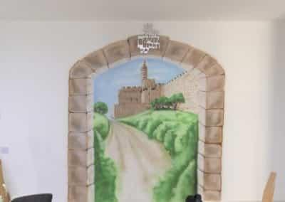 ציור קיר לסלון - ציור של עיר דוד מתוך יציאה מהבית