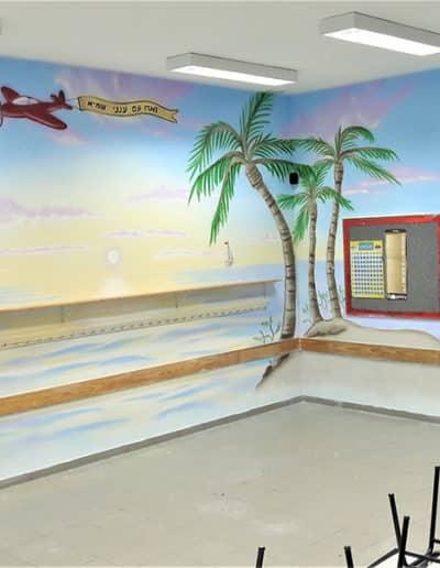 ציור קיר מדהים של שקיעה בכיתת לימודים