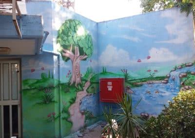 ציור קיר על מבנה של גן ילדים ציורי קיר MBart