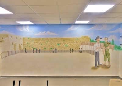 ציור קיר של הכותל המערבי - ציורי קיר לתלמודי תורה
