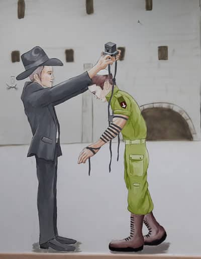 ציור קיר של הנחנת תפילין בכותל - הנחת תפילין לחייל