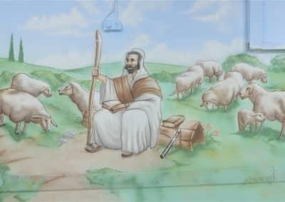 ציור קיר של רועה צאן