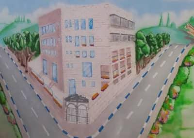 ציור של מבנה על קיר