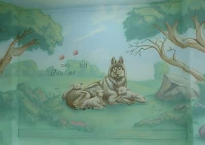 ציור קיר וגר זאב עם כבש