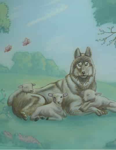 ציור קיר לחדר שינה - זאב עם כבש