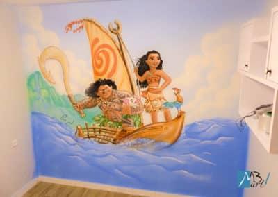 ציורי קיר של מואנה וחבריה - ציור קיר של מאווי ומואנה מפליגים בקנו