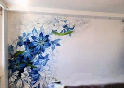 MBart ציורי קיר - ציור קיר של פרחים לסלון
