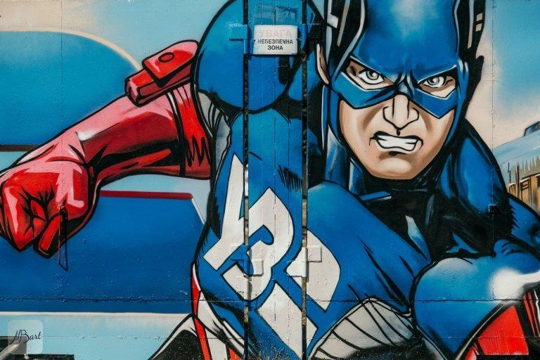 ציור קיר של קפטן אמריקה